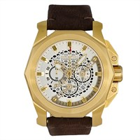 Orefici Gladiatore Vintage Watch Yellow Gold Dark Brown