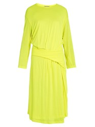 Balenciaga Asymmetric Peplum Jersey Midi Dress Yellow