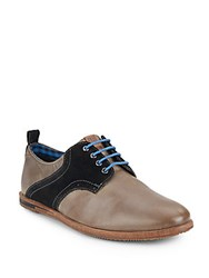 Ben Sherman Morris Leather And Suede Saddle Shoes Concrete