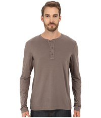 Michael Stars Long Sleeve Henley Bedrock Men's Clothing Gray