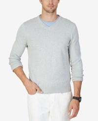 Nautica Men's V Neck Solid Sweater Grey Htr