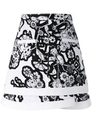 Carven Geometric Floral Print Skirt Women Polyester 38 Black