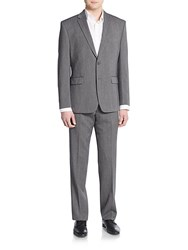 Vince Camuto Slim Fit Sharkskin Wool Suit Medium Grey