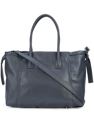 Fabiana Filippi Tote Bag With Drawstring Sides Leather Blue