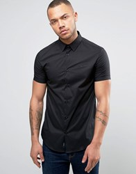 Armani Jeans Short Sleeve Logo Shirt Slim Fit Stretch In Black Nero