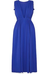 Eres Mikado Ryokucha Ruched Stretch Jersey Maxi Dress Bright Blue