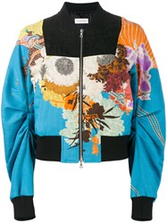 Dries Van Noten Viard Floral Print Bomber Jacket Blue