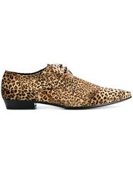 Saint Laurent Leopard Print Derby Shoes Brown