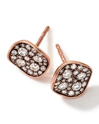 18K Rose Gold Pave 2 Disc Earrings With Diamonds Ippolita Pink