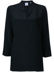 Aspesi V Neck Blouse Women Silk 40 Black