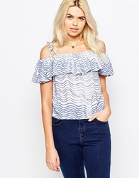 The Whitepepper Peplum Off The Shoulder Top In Wave Print Blue