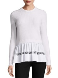 N 21 Ribbed Peplum Top With Lace Trim Cream