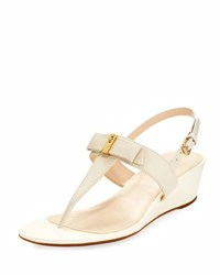 Cole Haan Elsie Ii Leather Bow Wedge Sandal Ivory