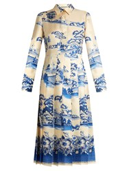 Gucci Porcelain Garden Print Silk Midi Dress Blue Multi
