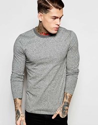 Asos Twisted Yarn Muscle Long Sleeve T Shirt With Contrast Neck Trim Gray