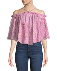 Romeo And Juliet Couture Halter Neck Off The Shoulder Daisy Embroidered Gingham Blouse Red Pattern