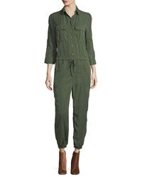 Etienne Marcel Marjan Button Front Long Sleeve Jumpsuit W Embroidery Green