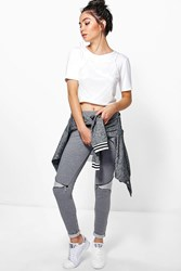 Boohoo Zip Knee Stretch Treggings Grey