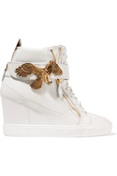 Giuseppe Zanotti Embellished Leather Wedge Sneakers White
