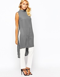 Love High Neck Top With Open Back And Side Split Grey