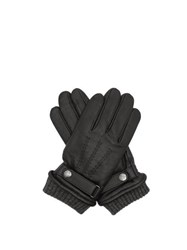 Dents Henley Touchscreen Compatible Leather Gloves Black