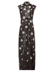 Andrew Gn Beaded Star Sequinned Silk Blend Gown Black Silver