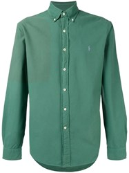 Polo Ralph Lauren Embroidered Logo Button Down Shirt Green