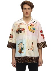 Dolce And Gabbana Over Pin Up Print Cotton Silk Shirt White