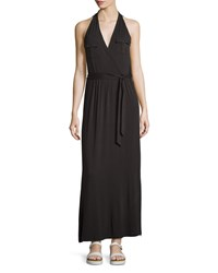 Neiman Marcus Sleeveless Military Style Knit Maxi Dress Black