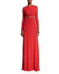 Michael Kors Long Sleeve Embellished Gown W Cutouts Scarlet Red Women's Size 4