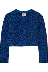 Issa Cropped Jacquard Knit Cardigan Blue