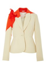Delpozo Flower Applique Cotton Blazer White