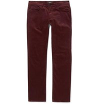 Theory Hyannis Slim Fit Stretch Cotton Corduroy Trousers Burgundy