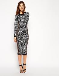 Asos Midi Dress In Leopard Structured Knit Multi