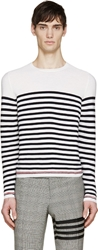 Thom Browne Ivory And Navy Breton Stripe Sweater