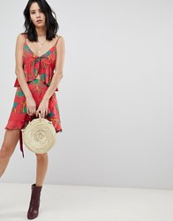 Honey Punch Mini Skirt With Ruffle Detail In Tropical Print Co Ord Red