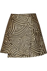 Suno Metallic Matelasse Wrap Mini Skirt