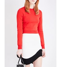 Thierry Mugler Cropped Knitted Jumper Poppy