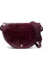 Halston Grace Calf Hair Paneled Distressed Leather Shoulder Bag Plum