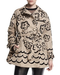 Red Valentino Floral Flocked Trenchcoat