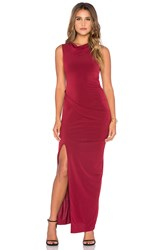 Bobi Black Liquid Jersey Cowl Neck Maxi Dress Red