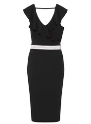 Dorothy Perkins Quiz Black Frill Diamante Bodycon Dress