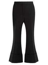 Stella Mccartney Mid Rise Kick Flare Wool Blend Trousers Black