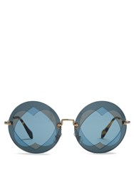 Miu Miu Two Heart Overlay Round Frame Sunglasses Blue