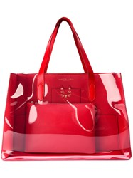 Charlotte Olympia Transparent Panel Tote Women Leather One Size Red