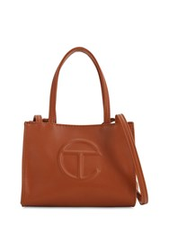 Telfar Small Embossed Faux Leather Tote Bag Tan