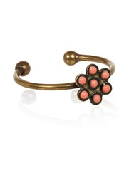 Isabel Marant Nitto Bague Brass And Bead Ring Bright Orange