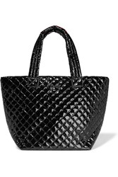 M Z Wallace Metro Medium Quilted Patent Shell Tote Black