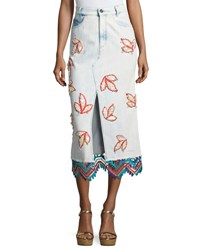 Peter Pilotto Embroidered Denim Pencil Skirt Sky