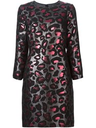 Marc By Marc Jacobs Leopard Lurex Brocade Dress Black